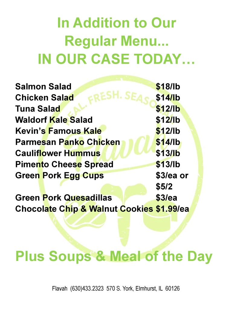 Today's delicious specials - including Asian Chili on Rice, Lamb Chops with Roasted Potatoes and Asparagus, and Teriyaki Chicken with Stir Fry Veggies.  New soups today, too, including Tomato Parm.