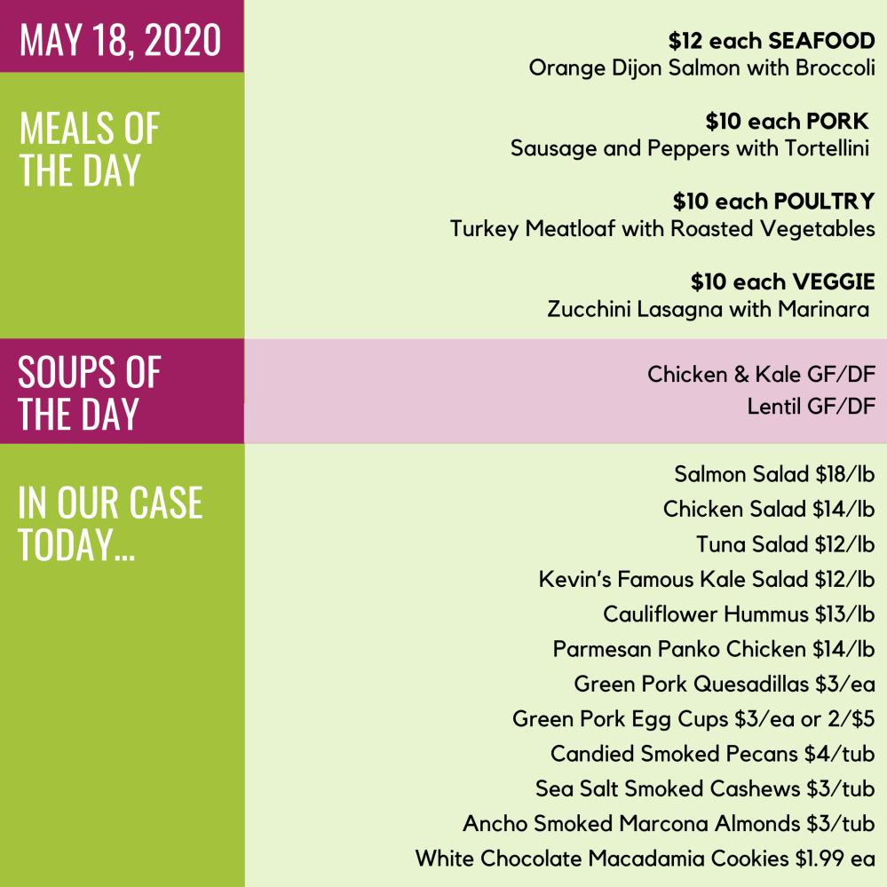 May 18, 2020 menu