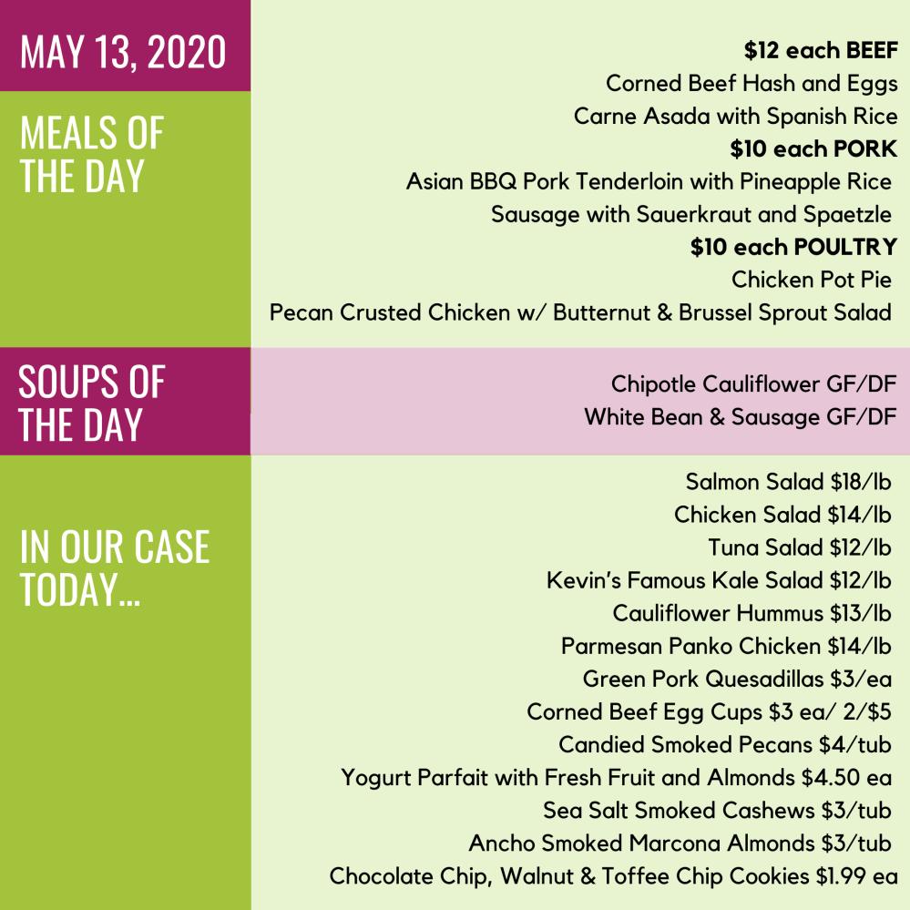May 13 2020 menu