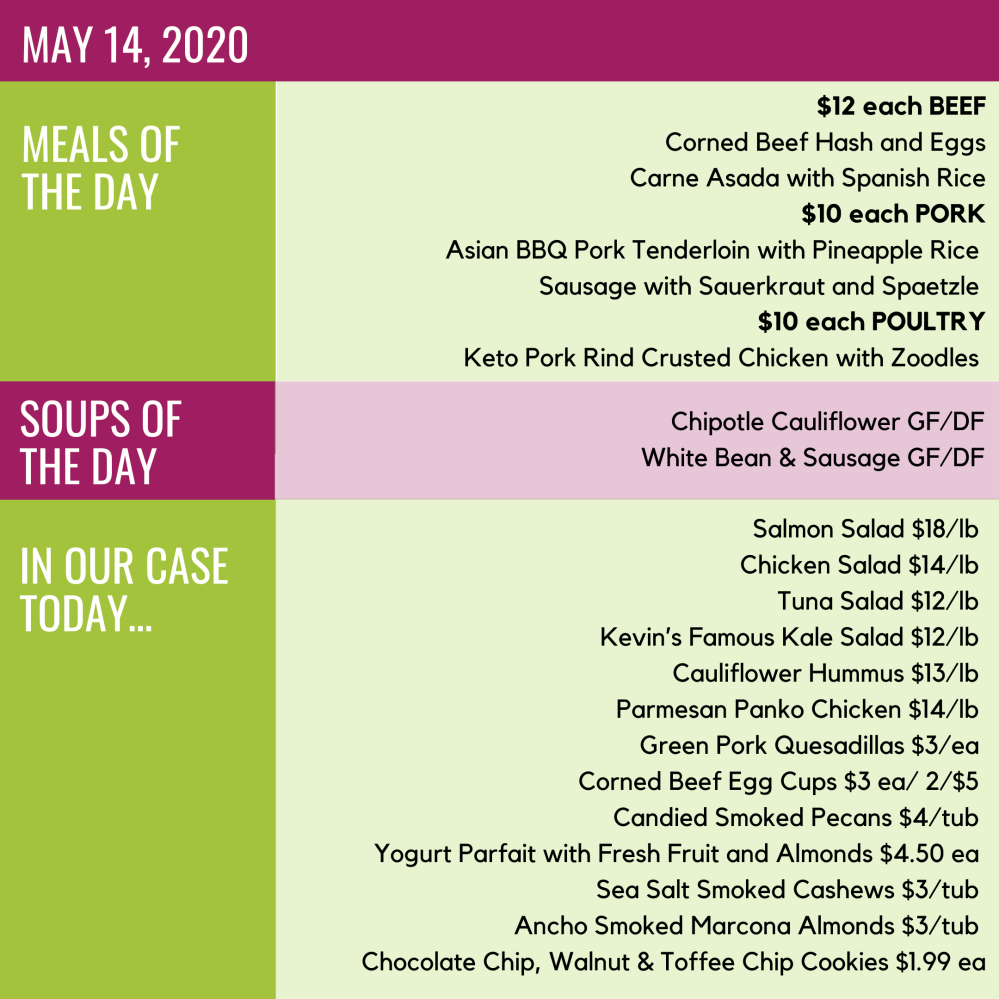 May 14, 2020 Daily Menu