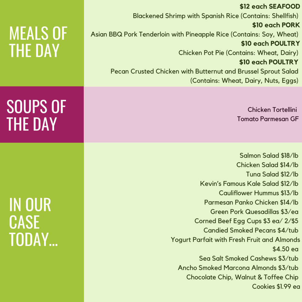 Monday, May 11 Meals, Soups, Case