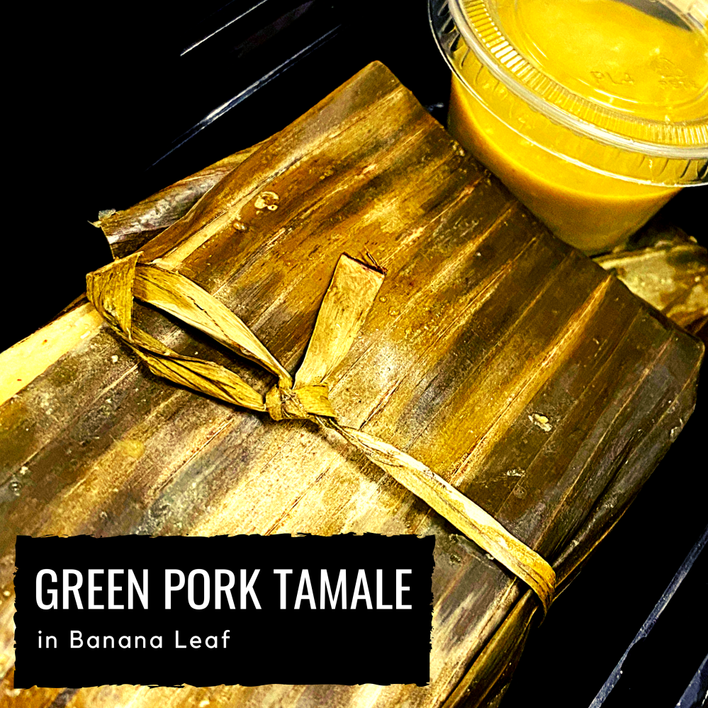 Green Pork Tamale in Banana Leaf